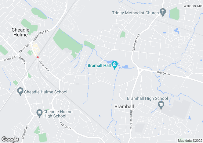 Map for Hall Road, Bramhall