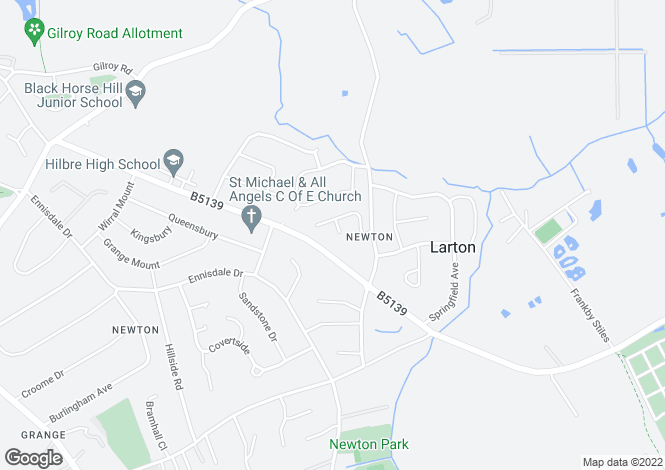 Map for Larton Farm Close Newton