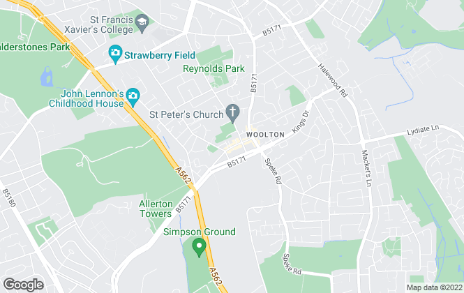 Map for Martin & Co, Woolton - Lettings & Sales