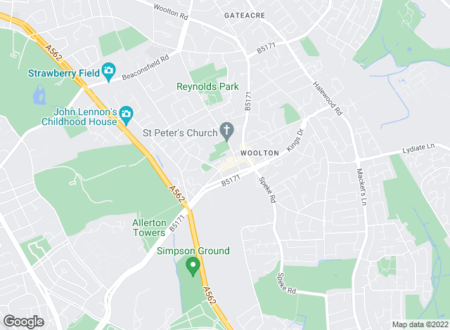 Map for Whitegates, Woolton