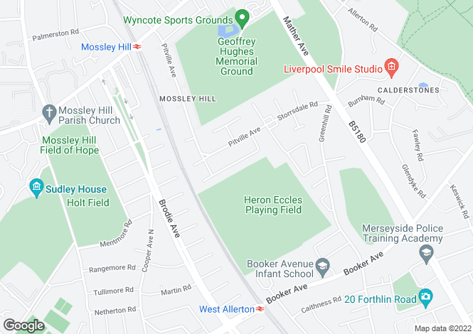 Map for Mossville Road, Mossley Hill, Liverpool, L18
