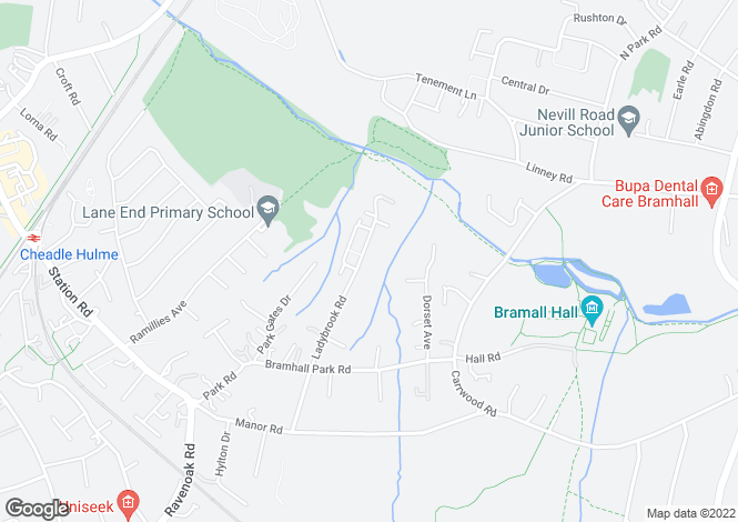Map for Ladybrook Road, Bramhall