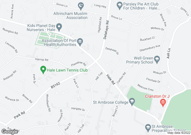 Map for Carrington Chase, Hale Road, Altrincham, Cheshire