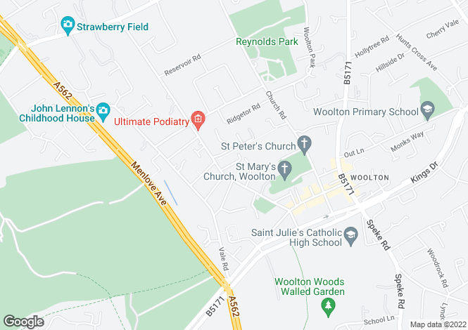 Map for Quarry Place, Woolton, Liverpool, L25