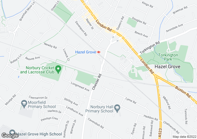 Map for Chester Road, Hazel Grove, Stockport, Cheshire