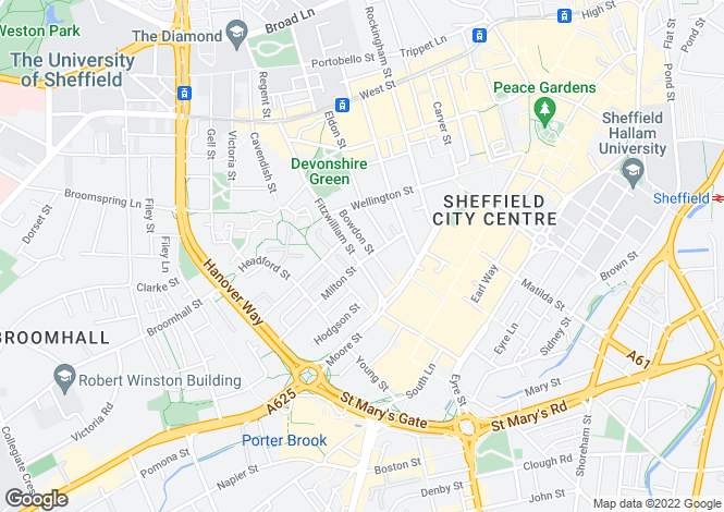 Map for Fitzwilliam House, 8 Milton Street, Sheffield, S1