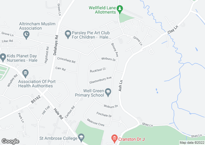 Map for Buckfast Close, Hale, Cheshire