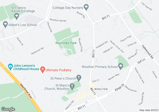 Map for Woolton Park, Liverpool L25