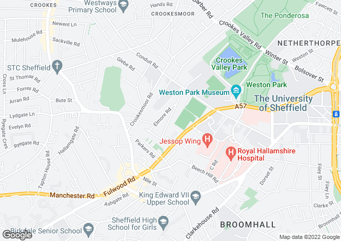 Map for 23, Marlborough Road, Broomhill, Sheffield. S10 1DA