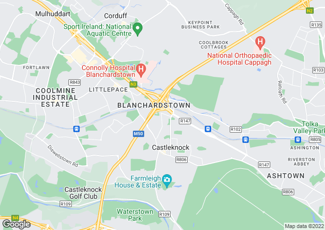 Map for 5 Bed Semi-Detached Homes, Castleknock Cross, Beechpark Avenue, Castleknock, Dublin 15
