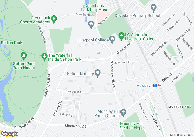 Map for Crawford Park, Mossley Hill, Liverpool, L18
