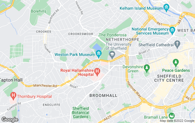 Map for Home Accommodation, Sheffield