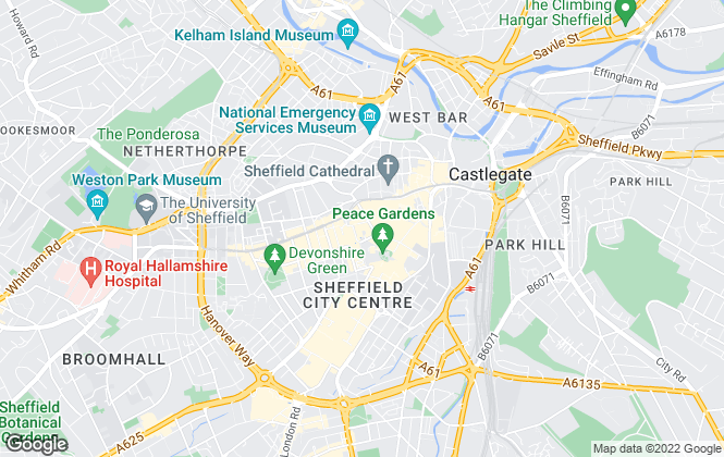 Map for Knight Frank - New Homes, Sheffield