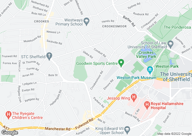 Map for 63, Redcar Road, Broomhill, Sheffield, S10