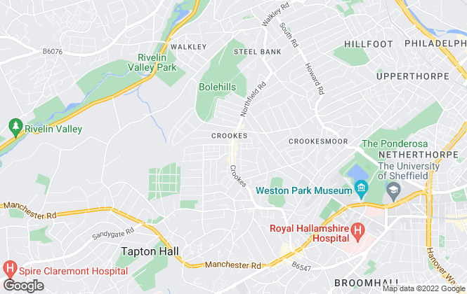Map for Hunters, Sheffield - Crookes