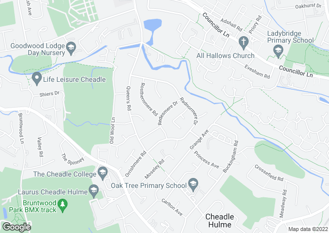 Map for Redesmere Drive, Cheadle Hulme, Cheadle, Cheshire