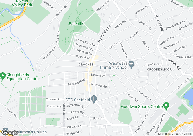 Map for 52, Toyne Street, Crookes, Sheffield