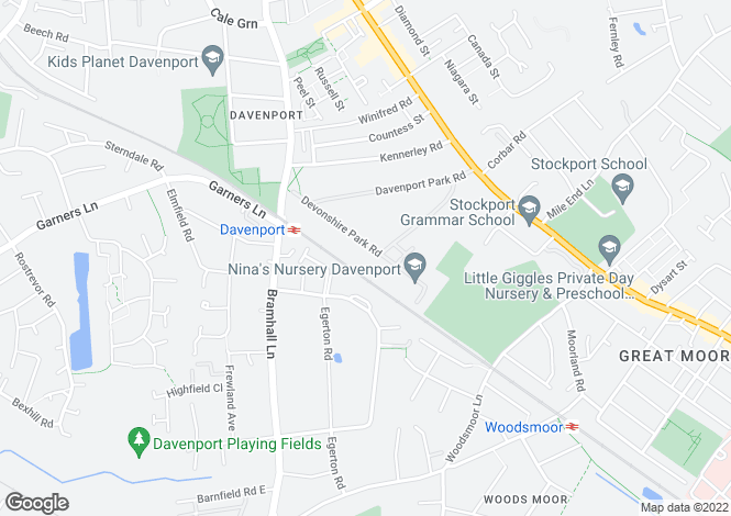 Map for Devonshire Park Road, Davenport, Stockport, Cheshire