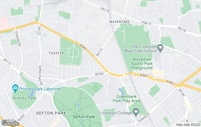 Map for Wavertree Property Link, Liverpool