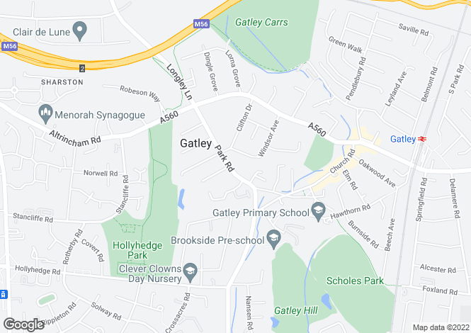 Map for Park Road, Gatley