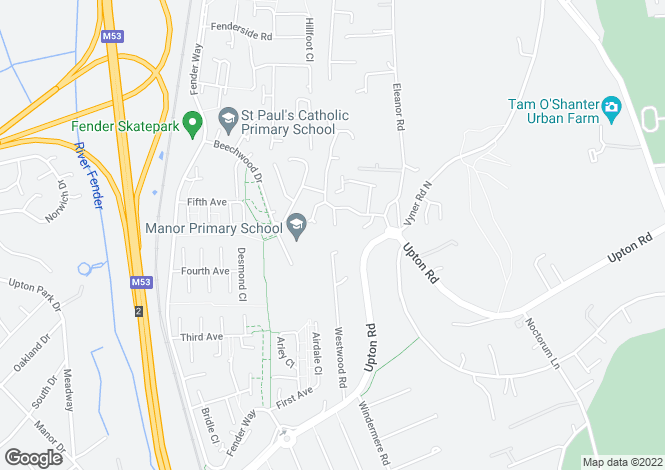 Map for Rushgreen Close, Bidston, Wirral