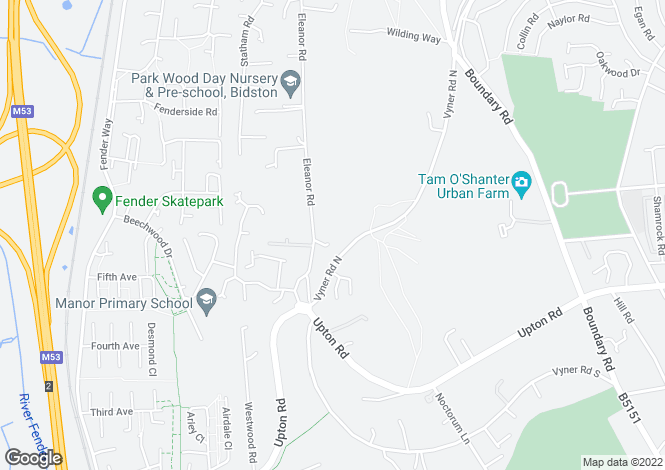 Map for Eleanor Road, Bidston Hill, Wirral