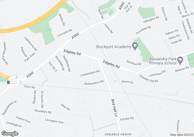 Map for Sherborne Road, Cheadle Heath, Stockport, Cheshire
