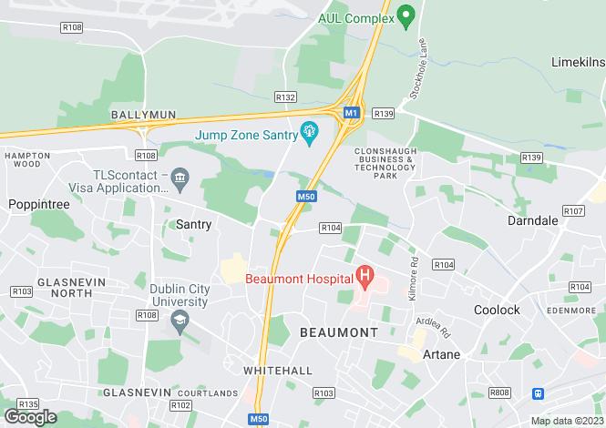 Map for 92 Aulden Grange, Santry, Dublin 9, D17 NH22