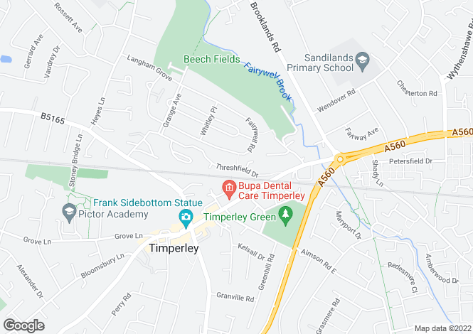 Map for Threshfield Drive, Timperley, Altrincham, WA15