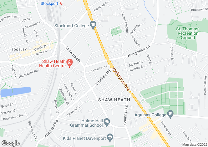 Map for Lowfield Road, Shaw Heath, Stockport, Cheshire