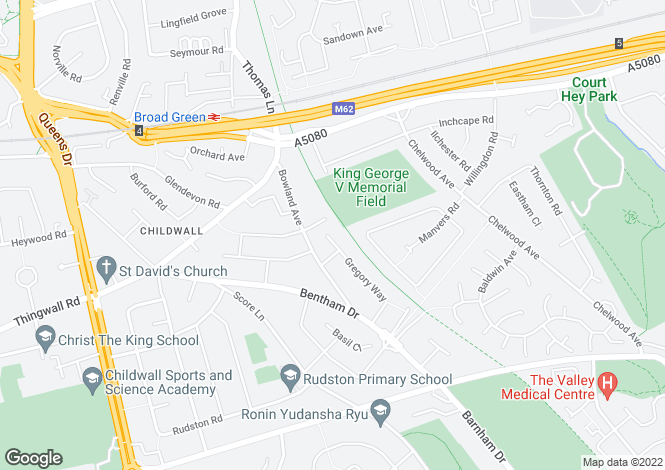 Map for Gregory Close, Childwall, Liverpool