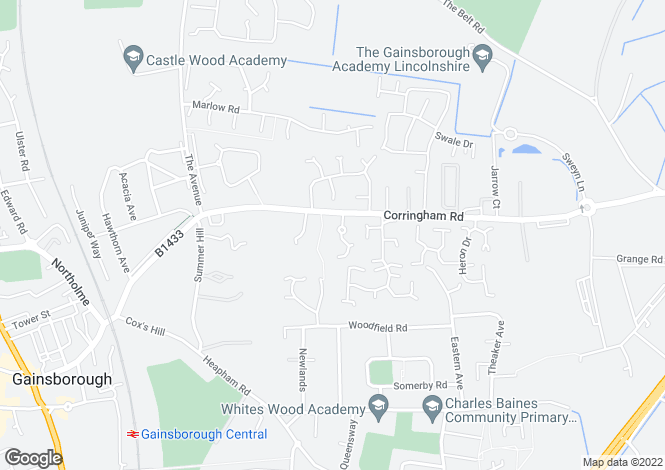 Map for Redman Close, Gainsborough, Lincolnshire