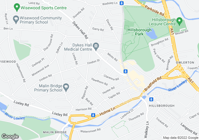 Map for 43, Portsea Road, Hillsborough, Sheffield