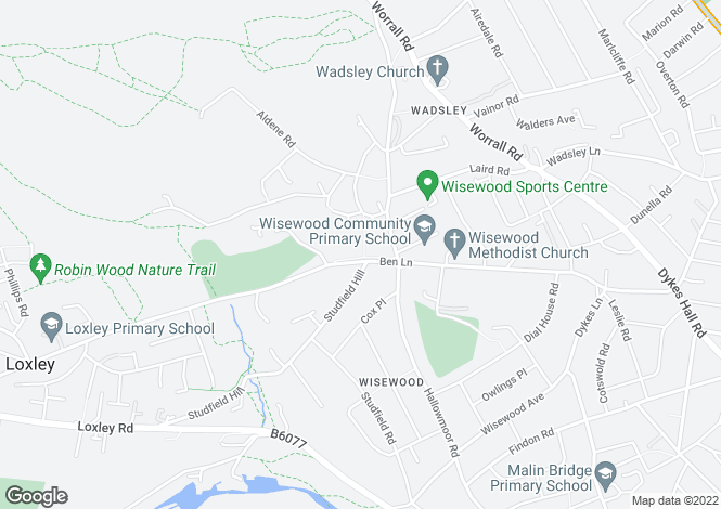 Map for 256, Ben Lane, Wadsley, Sheffield