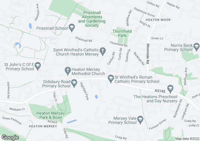 Map for Thornhill Road, Heaton Mersey, Stockport, Cheshire