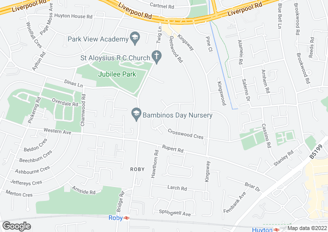 Map for Crosswood Crescent, Huyton, Liverpool, L36