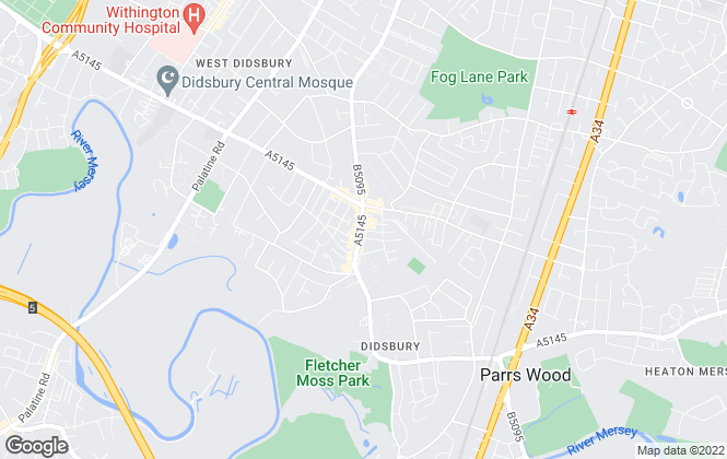 Map for Bridgfords, Didsbury