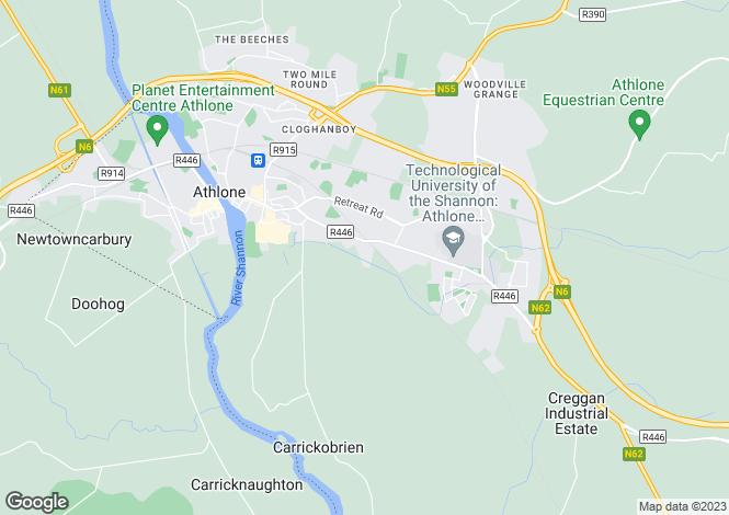 Map for St. Bernadette's, Bonavalley, Athlone, Co. Westmeath, N37 N8N1