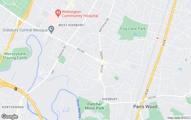 Map for The Living Room Letting Agency, Didsbury