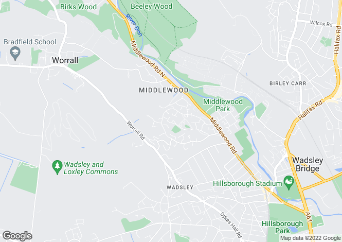 Map for 1 Middlewood Rise, Middlewood, SHEFFIELD, South Yorkshire