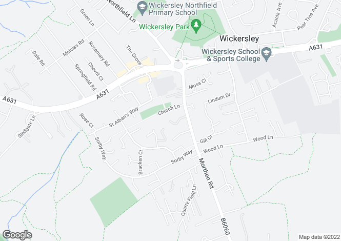 Map for Aldam Chase, Wickersley, ROTHERHAM, South Yorkshire