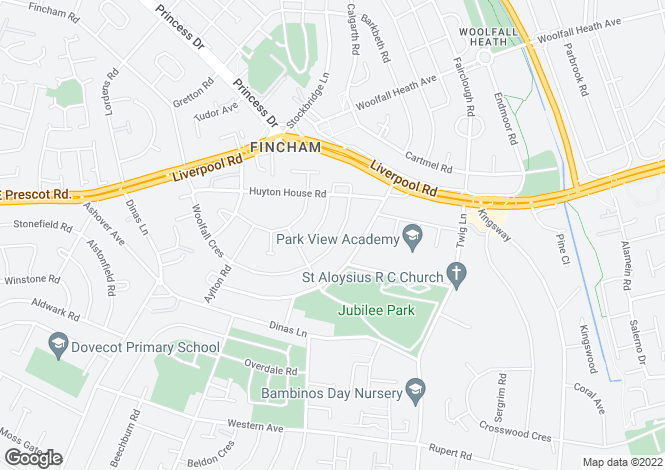Map for Woolfall Crescent, Huyton, Liverpool
