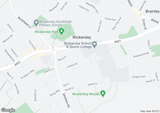 Map for Goose Lane, Wickersley