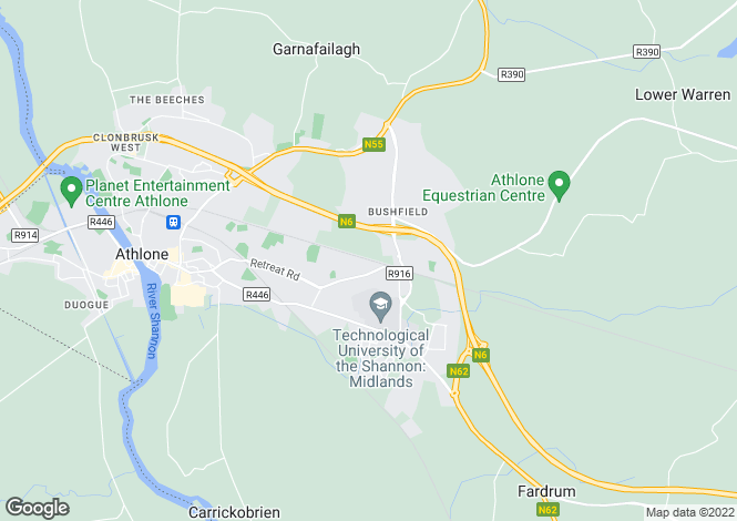 Map for 1 The Lodge, Ashgrove Cartrontroy, Athlone, Co. Westmeath, N37 V8Y1