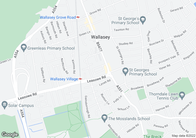 Map for Beechwood Avenue, Wallasey, Wirral