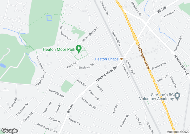 Map for Peel Moat Road, Heaton Moor
