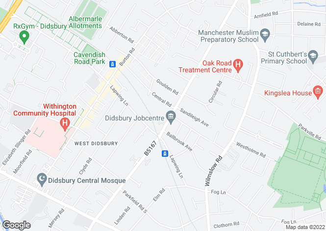 Map for 16 Highgrove Gardens, Didsbury, M20 3YB