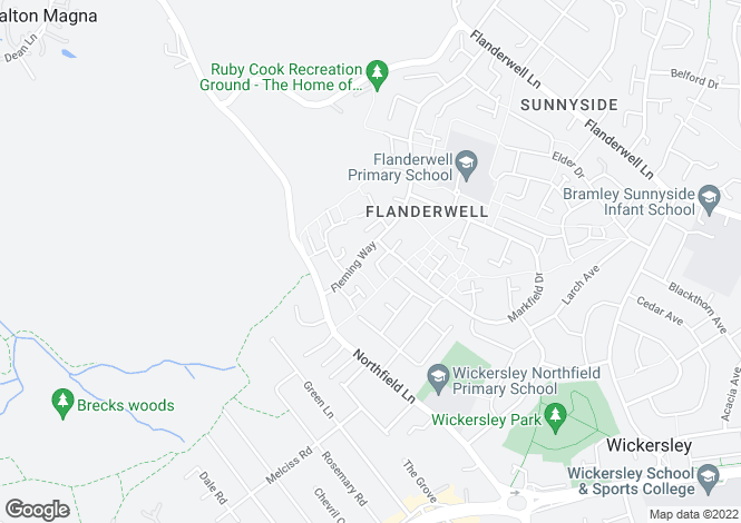 Map for 52 Fleming Way, Flanderwell, Rotherham, South Yorkshire