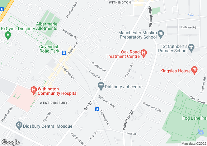 Map for Palatine Road, West Didsbury, Manchester