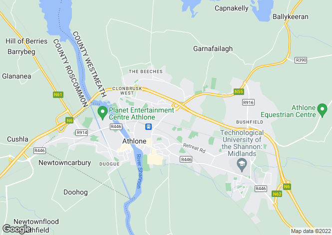 Map for No 1 The Moorings, Athlone East, Westmeath